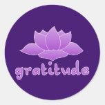 Gratitud con Lotus violeta Pegatina