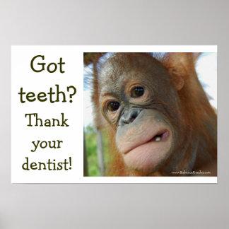 Gratitud divertida del diente poster