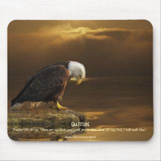 """Gratitud"" Eagle calvo y escritura de oro de Sun Tapete De Ratones"