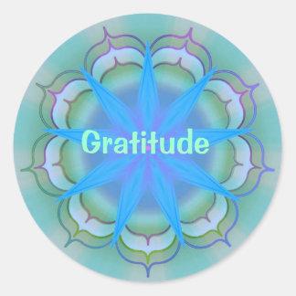 Gratitud (pegatina de la virtud) pegatina redonda