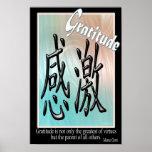 Gratitud - símbolo chino poster