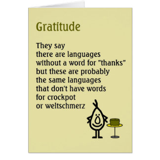 Gratitude - a quirky thank you poem cards
