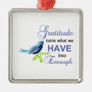 Gratitude Blue Bird Metal Ornament