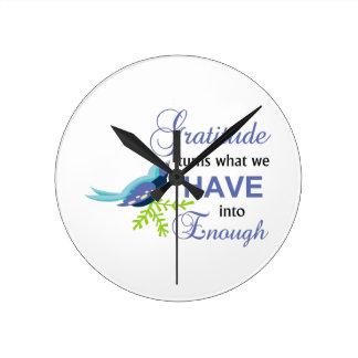Gratitude Blue Bird Round Clock