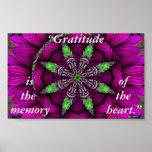 Gratitude Floral Kaleidoscopic Mandala Poster