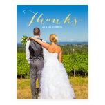 Gratitude Gold | Photo Wedding Thank You Postcard