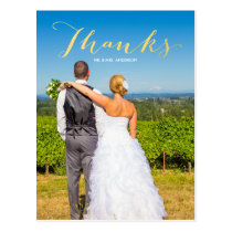 Gratitude Gold   Photo Wedding Thank You Postcard