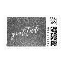 Gratitude Hand Lettered Font, Silver Glitter Postage