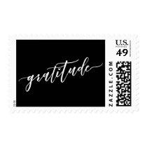 Gratitude Hand Lettered Font, White on Black Postage
