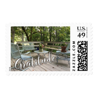 Gratitude in Beautiful Script w/ Cozy Patio Photo Postage