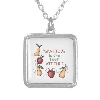 GRATITUDE IS THE BEST ATTITUDE SQUARE PENDANT NECKLACE