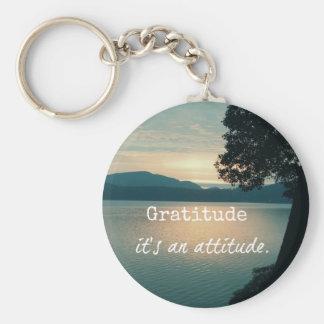 Gratitude: It's an Attitude Quote Basic Round Button Keychain