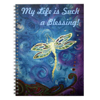Gratitude Journal: Dragonfly Silk Image by Cyn Mc Spiral Notebook