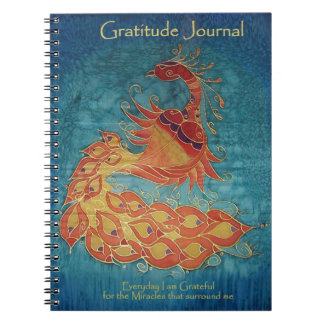 Gratitude Journal: Peacock Silk Painting By Kim Spiral Notebook