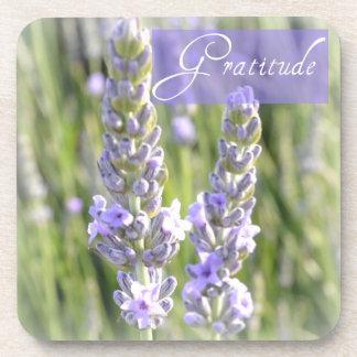 Gratitude Lavender Flowers Coaster Set