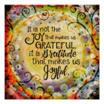"""Gratitude Makes us Joyful"" Inspirivity Poster"