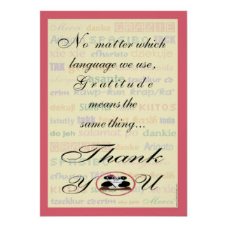 Gratitude means the same in any language poster