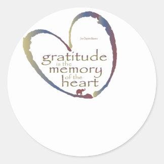 """Gratitude - memory of the heart"" Classic Round Sticker"