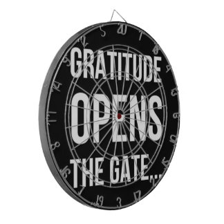 Gratitude Opens The Gate inspirational quote Dartboard With Darts