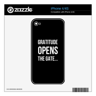Gratitude Opens The Gate inspirational quote Decal For The iPhone 4