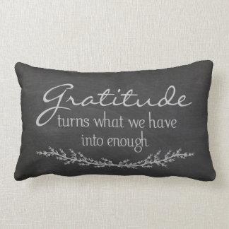 Gratitude quote on black chalkboard lumbar pillow