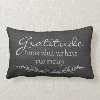 Gratitude quote on black chalkboard pillow