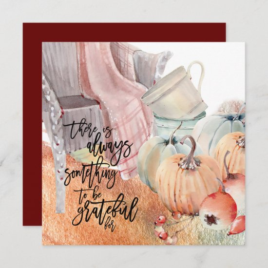 Gratitude Quote Watercolors Happy Thanksgiving Card