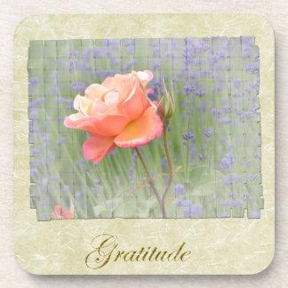 Gratitude Rose with Lavender Beverage Coaster