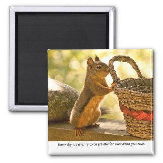 Gratitude Squirrel 2 Inch Square Magnet