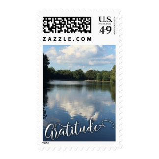 Gratitude w/ Dramatic Clouds Reflected in Lake 2 Postage