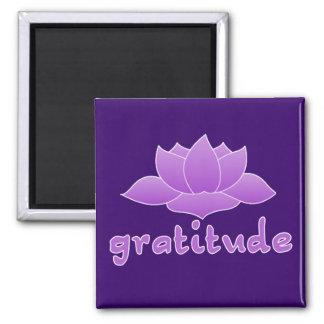 Gratitude with Violet Lotus 2 Inch Square Magnet