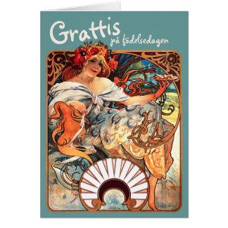 Grattis på födelsedagen CC0412 Alfons Mucha Card