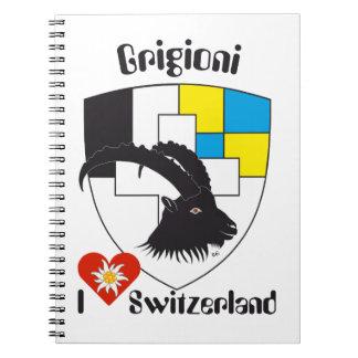 Graubünden, Grigioni, Grischun note booklets Spiral Notebooks
