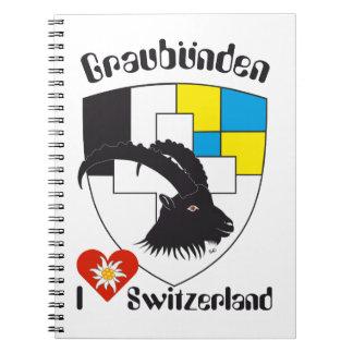 Graubünden, Grigioni, Grischun note booklets Spiral Note Books