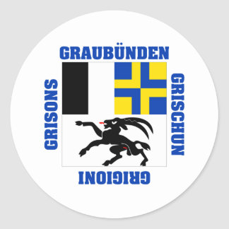 Graubunden Switzerland Canton Flag Classic Round Sticker