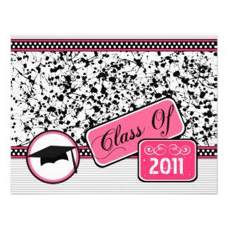Graudation Class Of 2011 Black Paint Splatter Personalized Invites