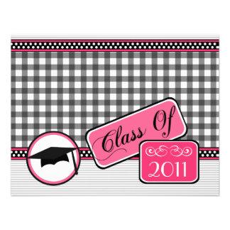 Graudation Class Of 2011 Gray Gingham Announcement