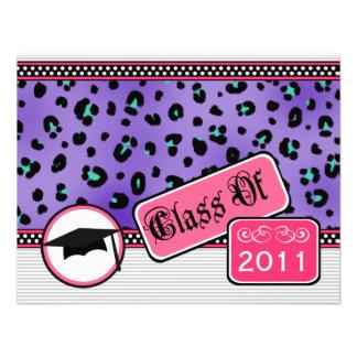 Graudation Class Of 2011 Purple Leopard Print Custom Invites