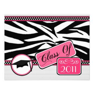 Graudation Class Of 2011 Zebra Print Custom Invitations
