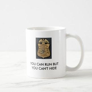 Gravano, FBI_Badge, YOU CAN RUN BUT YOU CAN'T H... Classic White Coffee Mug