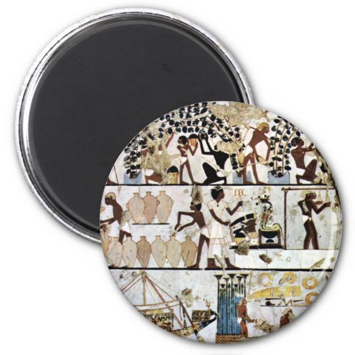 Grave Chamber Of Some Unknown (Tt261) Scenes 2 Inch Round Magnet