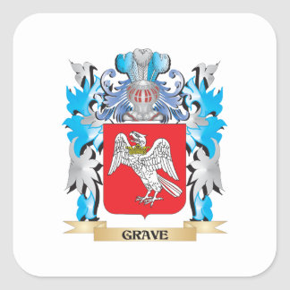 Grave Coat of Arms - Family Crest Square Sticker