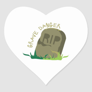 Grave Danger Heart Sticker