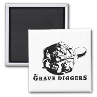 grave diggers logo 2 inch square magnet