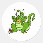 Grave el dragón etiquetas redondas