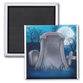 Grave Graveyard Halloween Background Magnet