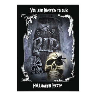 Grave Marker and Skull Invitation