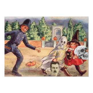 Grave Robber Cop Ghost Witch Skull Pumpkin 5x7 Paper Invitation Card