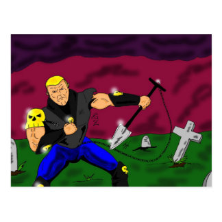 Gravedigger Halloween postcard