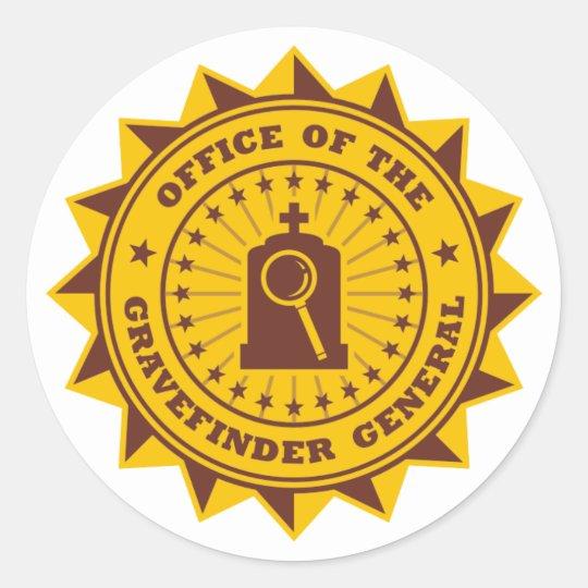 Gravefinder General Classic Round Sticker